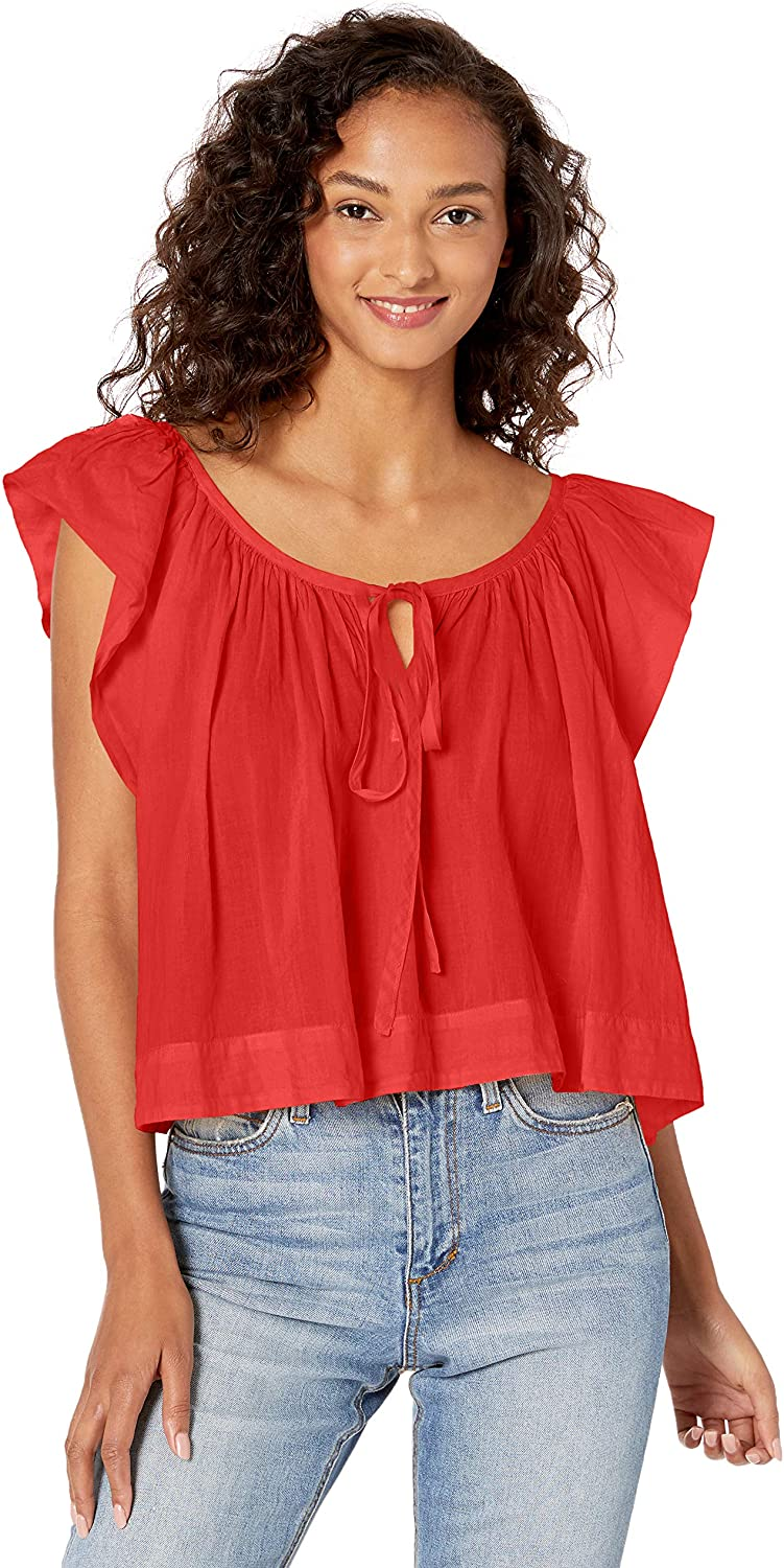 Enza Costa Womens Voile Flounce Shell Top