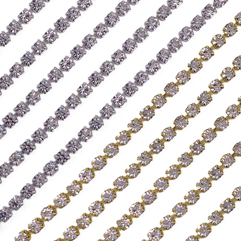 Rhinestone Close Chain,10 Yards Rhinestone Chains Rhinestone Trim Silver Chain Gold Chain Trimming Claw Chain for Sewing Craft Decoration(2.5 mm)