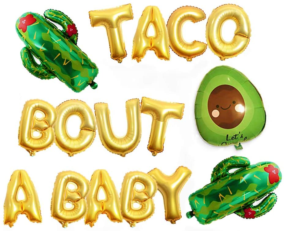 AnnoDeel Taco Bout A Baby Foil Balloon Banner, 16inch Gold Letter Balloons Cactus Avocado Mylar Balloons for Mexican Fiesta Baby Shower Party Decoration