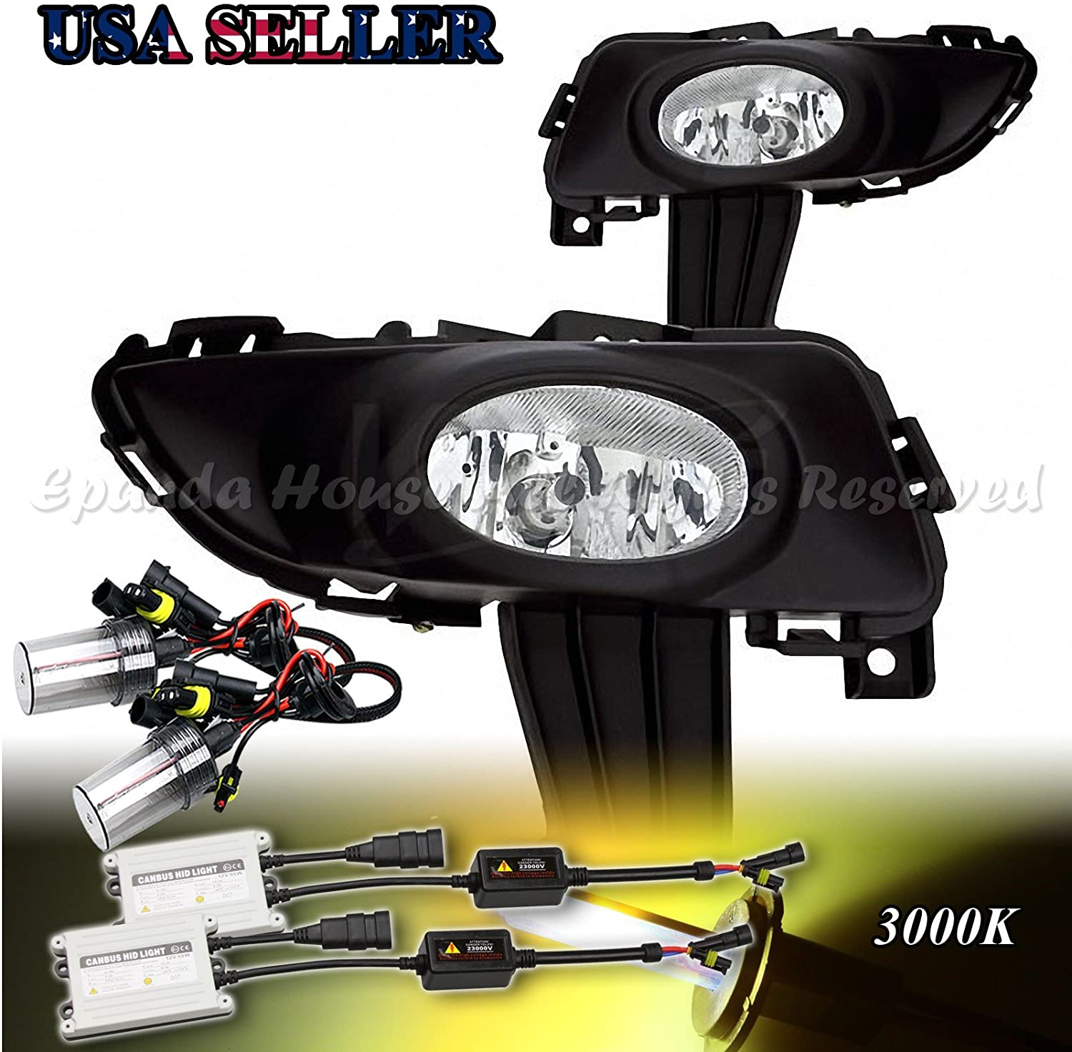 EpandaHouse Fog Lights Work for 03-05 Mazda 3 4Dr Clear Lens DOT/SAE Fog Lights Work Direct Fit+3000K 55W HID