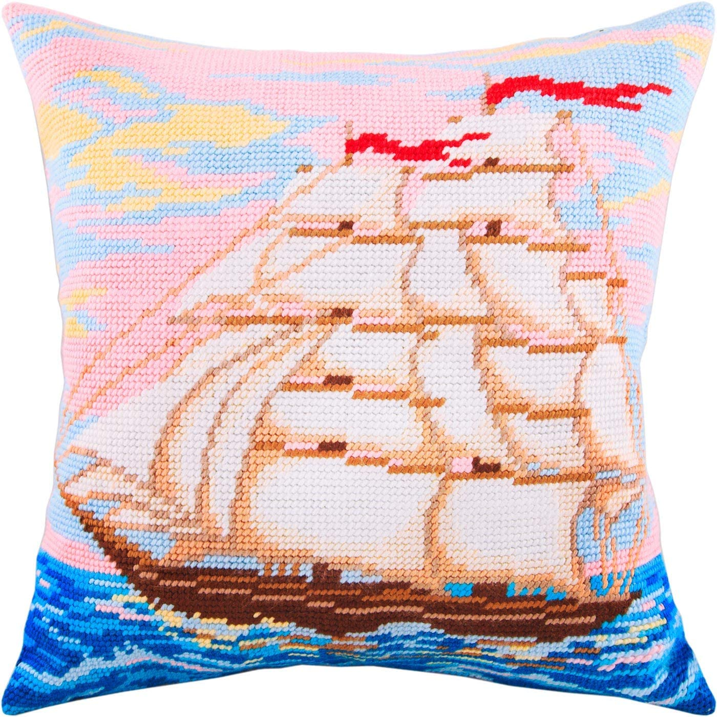Sailing Ship. Needlepoint Kit. Throw Pillow 16×16 Inches. Printed Tapestry Canvas, European Quality