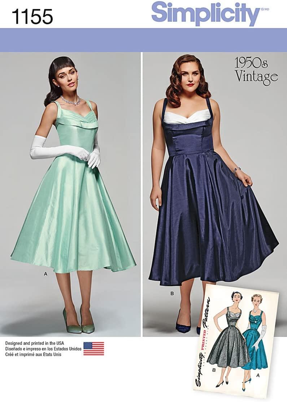 Simplicity 1950's Vintage Pattern 1155 Women's Vintage Style Dress Sizes 20W-28W