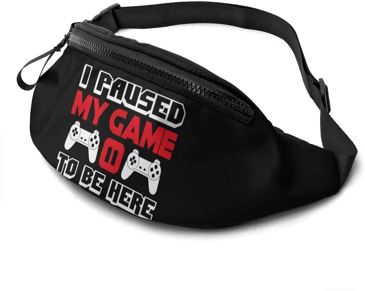 Liuqidong I Paused My Game to Be Here Gamer Waist Pack Bag Fanny Pack for Men&Women Hip Bum Bag with Adjustable Strap for Outdoors Workout Traveling Casual Running Hiking Cycling