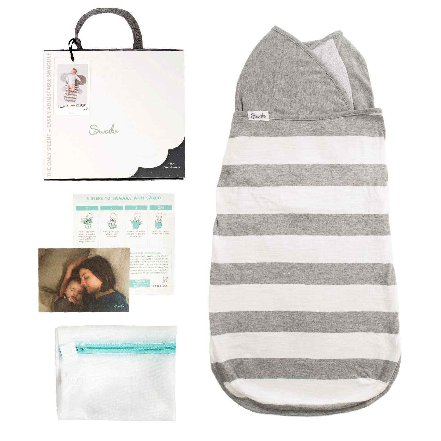 Swado: The Only Silent and Adjustable Easy Swaddle | Stripes | Organic Cotton (Medium)