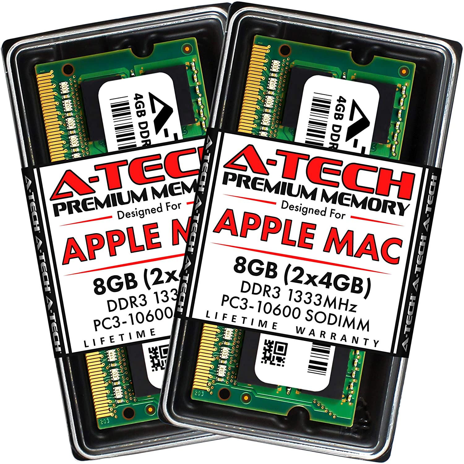 A-Tech 8GB Kit (2x4GB) DDR3 1333MHz SODIMM PC3-10600 RAM for Apple MacBook Pro (Early/Late 2011), iMac (Mid 2010, Mid/Late 2011), Mac Mini (Mid 2011)
