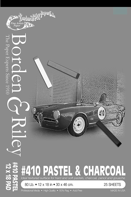 Borden & Riley #410 Charcoal/Pastel Pad, 12 x 18 Inches, 80 lb, 25 Portrait-Gray Sheets, 1 Pad Each (410P121825)
