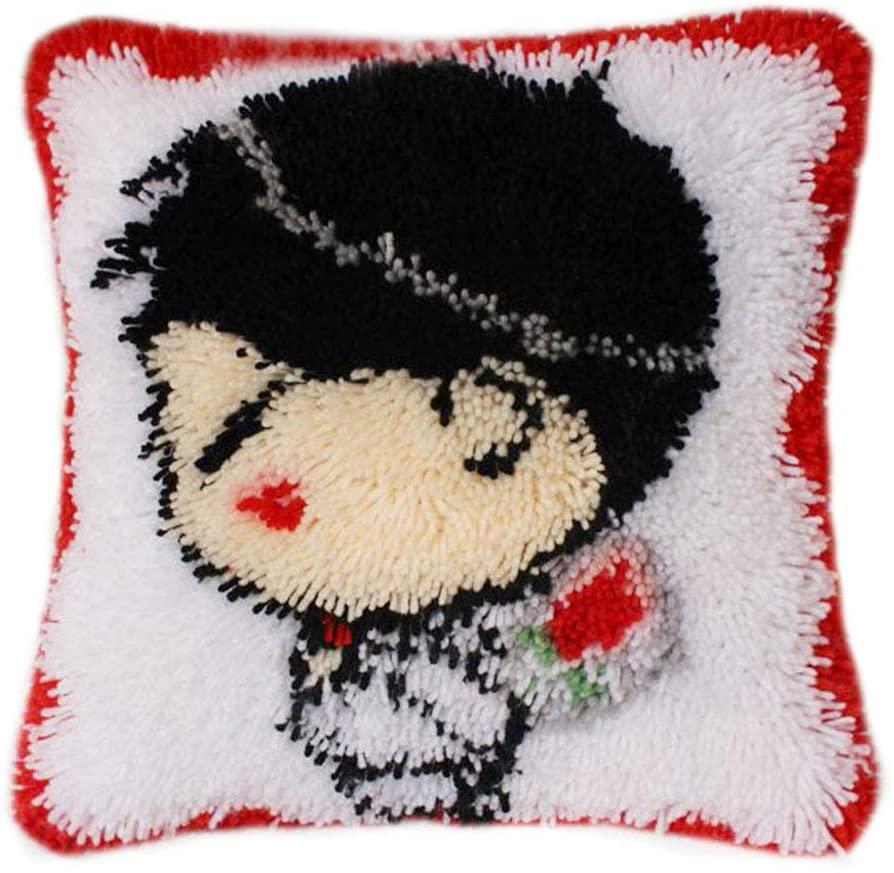 DIY Cushion Carpet Floor Mat Pillow Latch Hook Kits Rug Cover Wedding Hand Craft Crochet for Kids Parents Gift