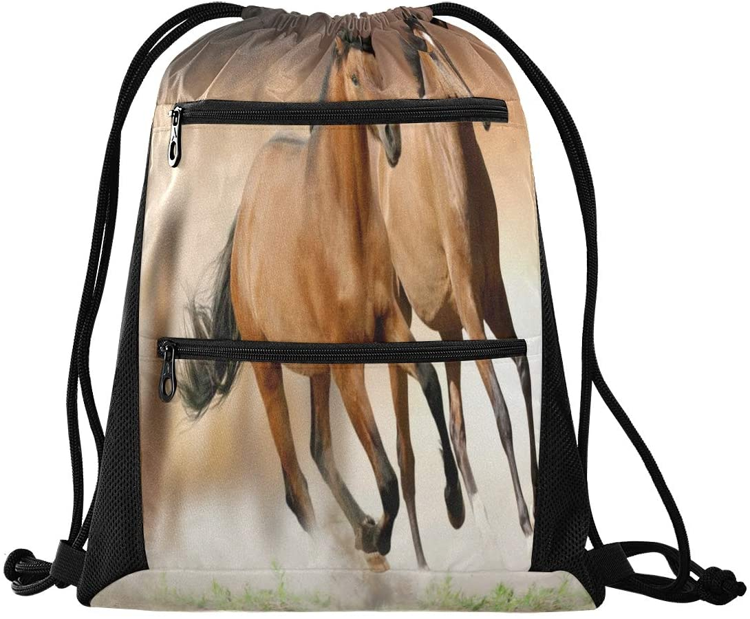 N /A Drawstring Backpack for Women Men Horse Couple Run Gym Bag Drawstring Backpacks Boys