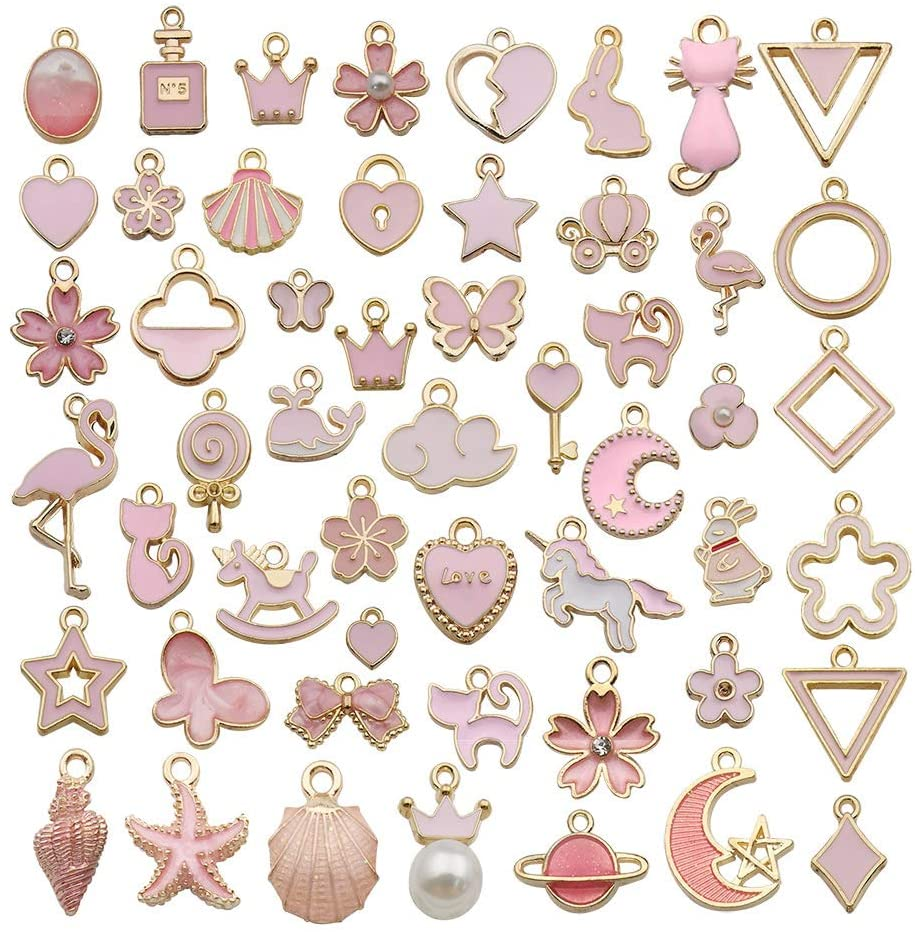 Youdiyla 300pcs Pink Charms Cute Pink Colors Enamel Mix Crown Star Heart Cat Triangle Unicorn Sweets Shell Moon Flower Metal Pendant Supplies Findings for Jewelry Making HM416