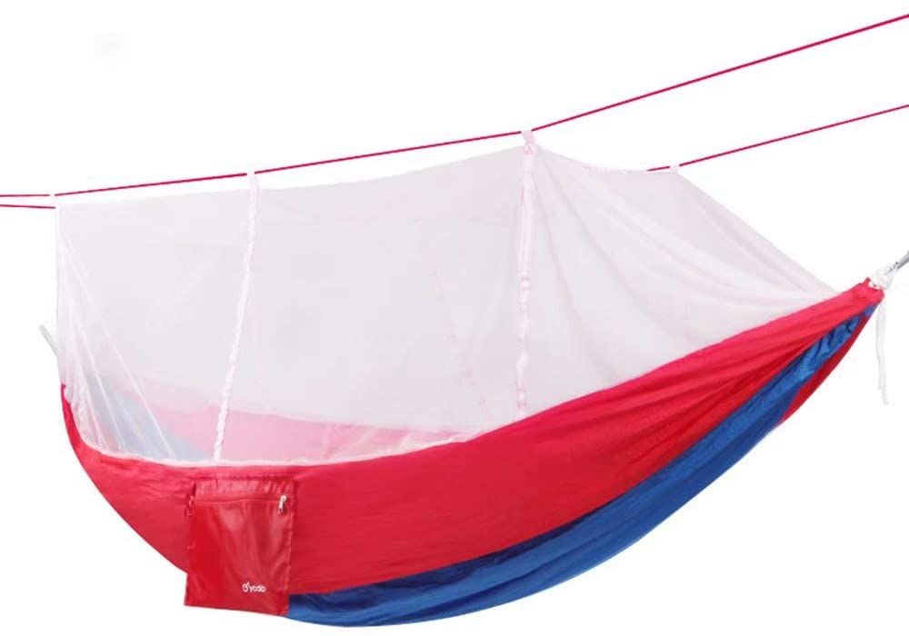 Outdoor with Mosquito Account Outside Hammock Widened Single Double Parachute Cloth Mosquito Net Mesh Indoor Camping Swing (260cm×140cm)