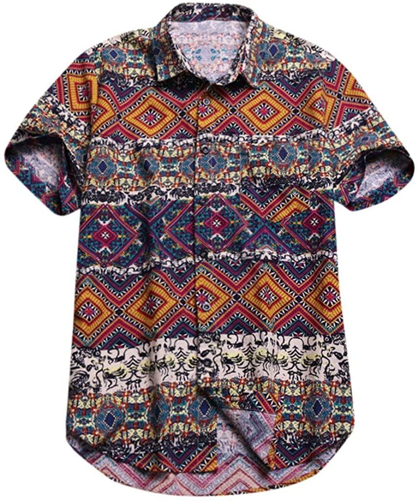 XQXCL Men's Baggy Cool Beach Hawaiian Print Short Sleeve Button Retro T Shirts Tops