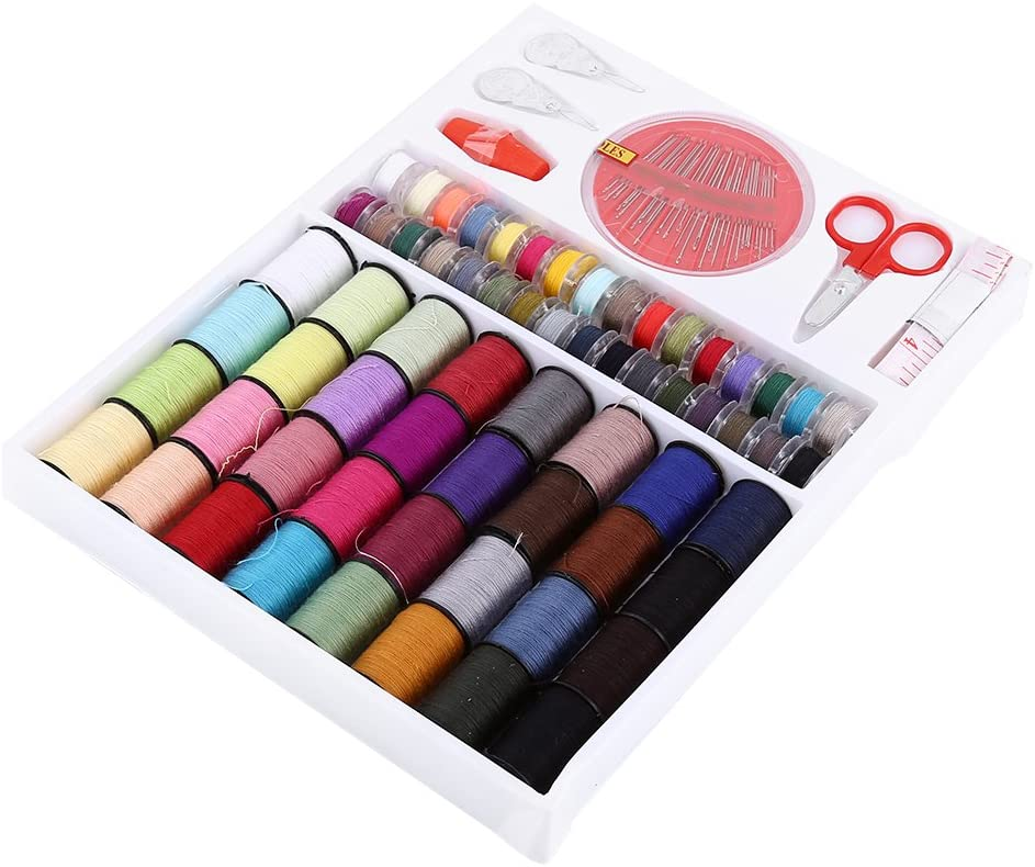 ViaGasaFamido Sewing KIT, DIY Scissors Thimble Thread Needle Sewing Supplies Set, Colorful 64 Thread Spools Home Use Sewing Tools for Emergency Repairs Travel Kids Beginners and Home