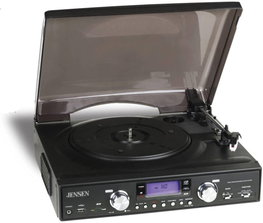 Jensen 3-Speed Stereo Turntable with MP3 Encoding and AM/FM Stereo - JTA-450 (Black) (Discontinued by Manufacturer)