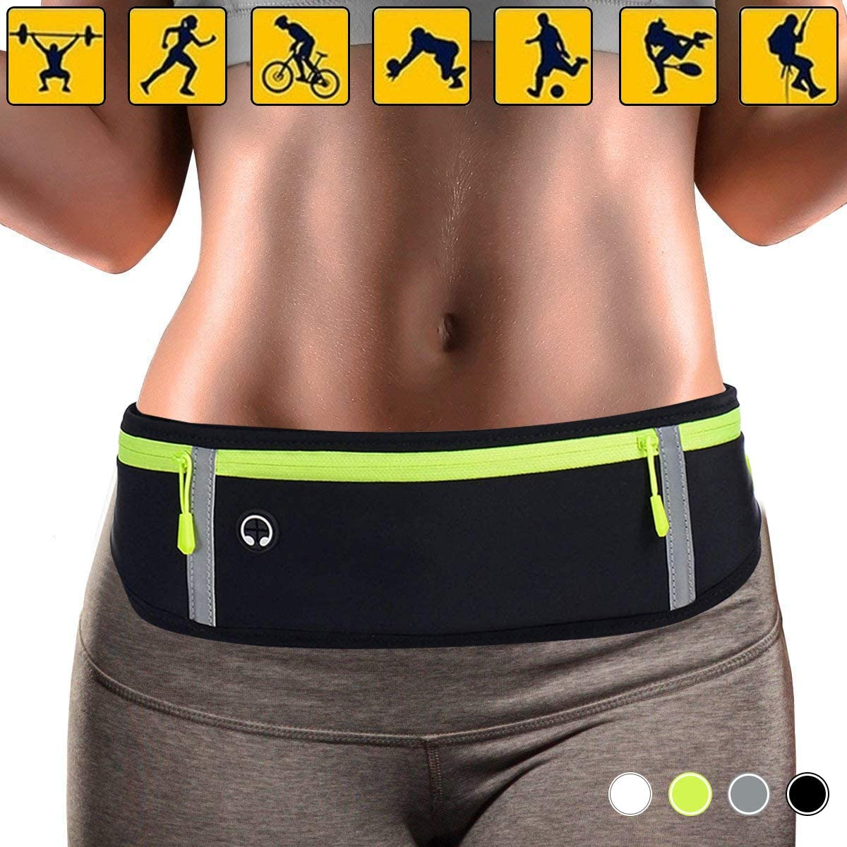 SIZIMA Running Belt Waist Pack, Fitness Running Pouch Fanny Pack Waterproof Elastic Belt Jogging Waist Bag for Men, Women, Sports, Workouts, Cycling, Marathon, Gym, Samsung Apple iOS Andriod Phone
