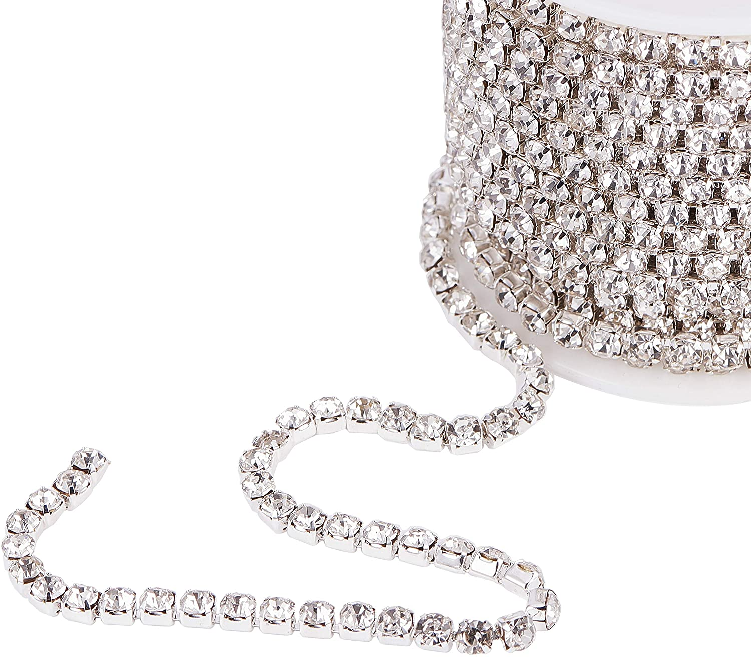 PH PandaHall 10 Yards 4mm Crystal Rhinestone Close Chain Clear Trimming Claw Chain Sewing Craft About 1960pcs Rhinestones - Crystal (Silver Bottom)