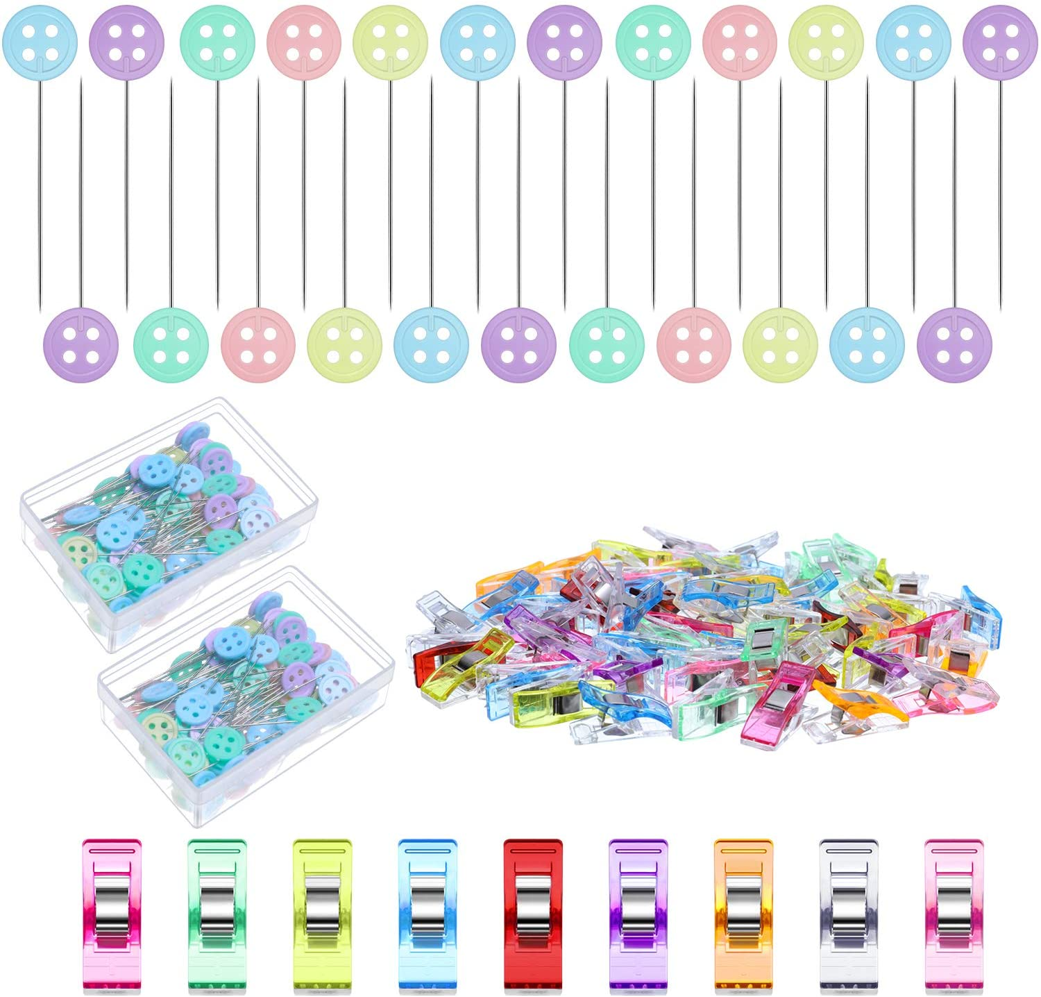 200 Pieces Flat Button Head Pins Decorative Straight Pins Quilting Pins Colorful Sewing Pins with 50 Pieces Multipurpose Sewing Clips Colored Quilting Clips for Fabric Dressmaking Sewing DIY Crafts