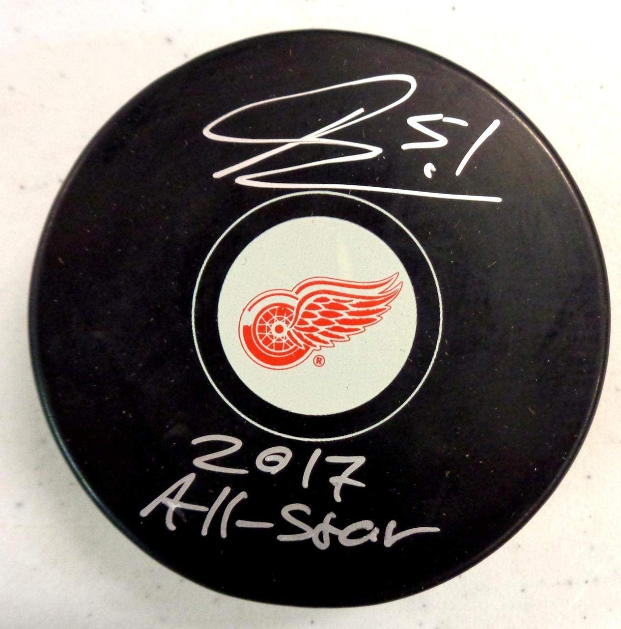 Frans Nielsen Autographed Red Wings Souvenir Puck w/