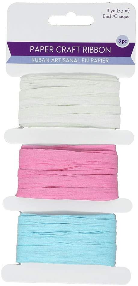 Homeford Paper Raffia Ribbon Craft Medley, 1/4-Inch, 8-Yard, 3-Piece (Pastels)