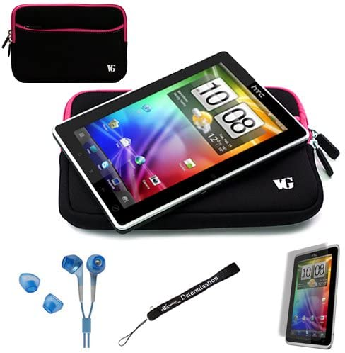 eBigValue Magenta Trim Black Slim Protective Soft Neoprene Cover Carrying Case Sleeve for HTC Flyer Android OS AD2P 7 Inch Tablet Device and Hand Strap and Earbuds and Screen Protector