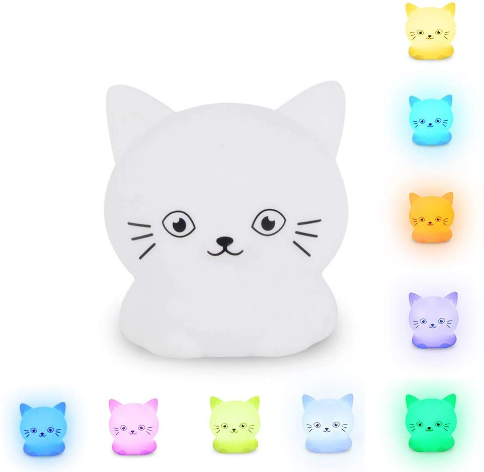 Pacefic Adorable Kitty Night Light Silicone LED, Changes 9 Colors with Pat Control and Remote, Rechargeable, Lightweight Cat Night Lamp for Nursery