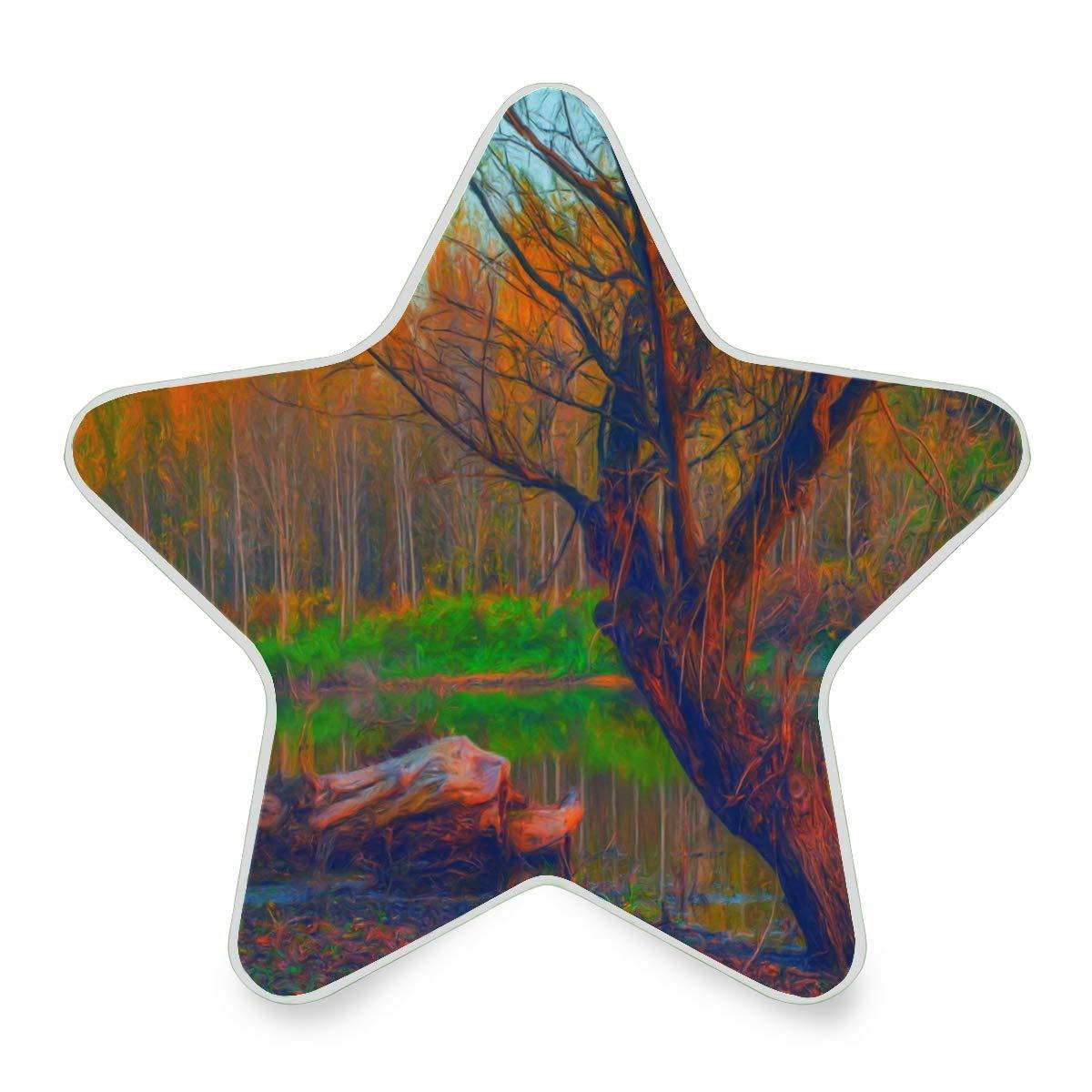 Mini Night Light Landscape Painting Showing Forest On Gloomy Autumn Day Star Pentagram Shaped Nightlight Children's Bedroom Cute Plug in Light Decoration Emergency Lamp for Kids Girls Boys Childrens