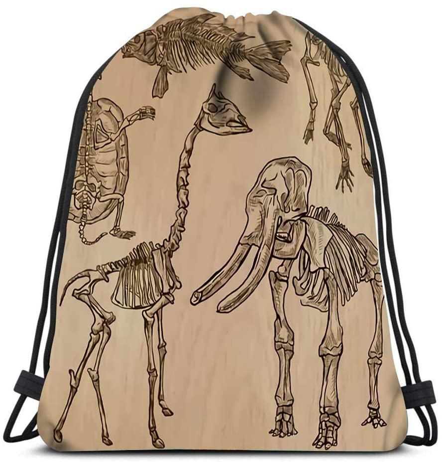 bneegxg Backpack Drawstring Bag Bones Skeletons and Skulls of Some Animals Collection an Freehand Women&Men Sport Gym Sack