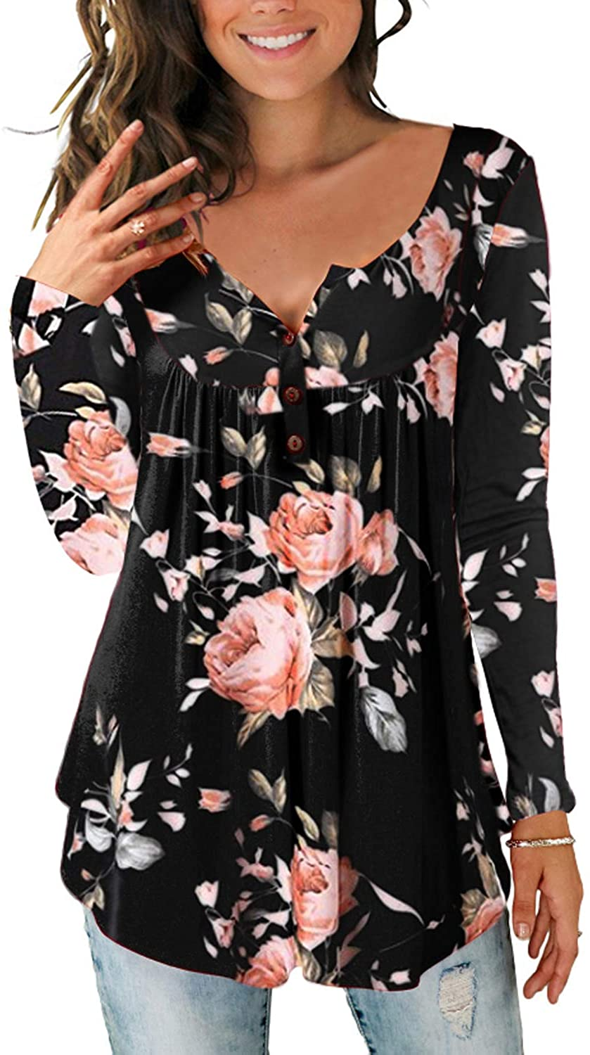 Women's Paisley Printed Button Top Long Sleeve V Neck Pleated Casual Flare Tunic Loose Blouse Shirt, Black, Small