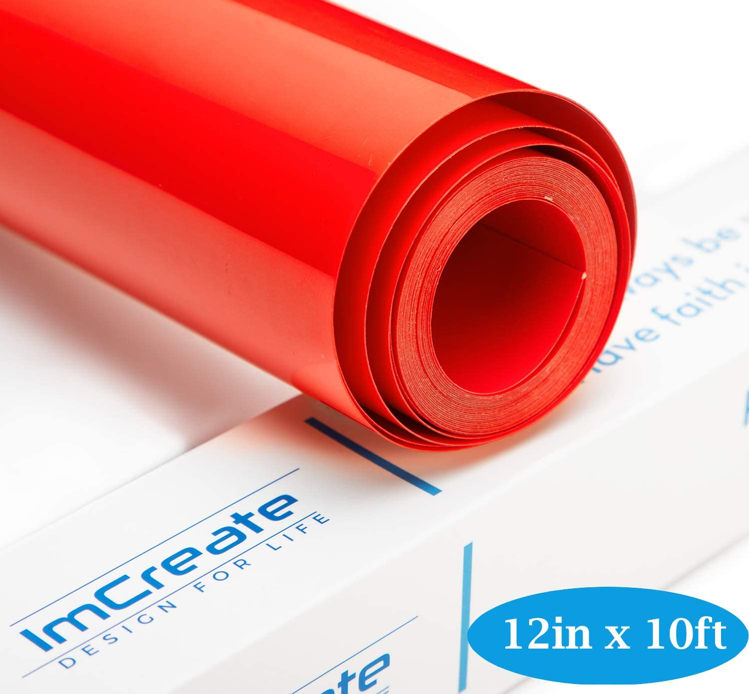 Red Iron Vinyl Heat Transfer Vinyl Red Roll HTV Iron On Vinyl for 12 Inches by red htv Vinyl 10 Feet Cricut and Silhouette Cameo (Red htv Roll)