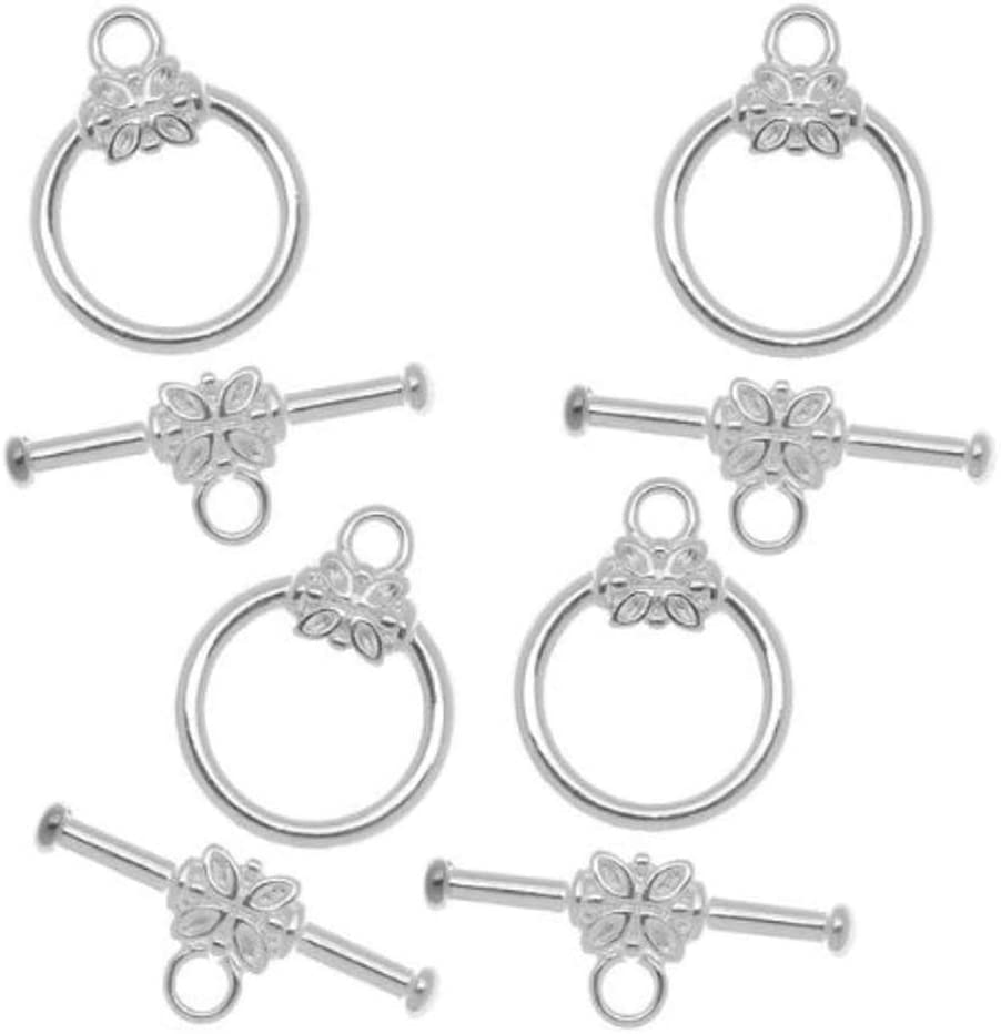 5 sets Sterling Silver Flower Toggle Clasps 12mm Connector Beads for Jewelry Craft Making SS266-2