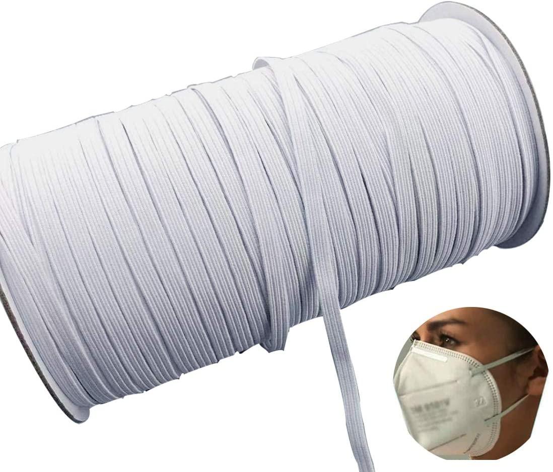 MYUREN 100 Yards Length 1/4 Inch Width Braided Elastic Band White Elastic Cord Heavy Stretch High Elasticity Knit Elastic Band for Sewing Crafts DIY,Bedspread, Cuff