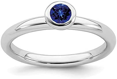 Sterling Silver Stackable Expressions Low 4mm Round Cr. Sapphire Ring