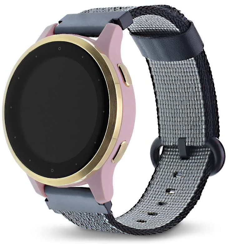 Leiou Woven Nylon Strap Compatible with Garmin vivoactive 4S Bands Quick Release 18mm Also Works with vivomove 3S Watch Band with Stainless Steel Buckle, Black (5.5