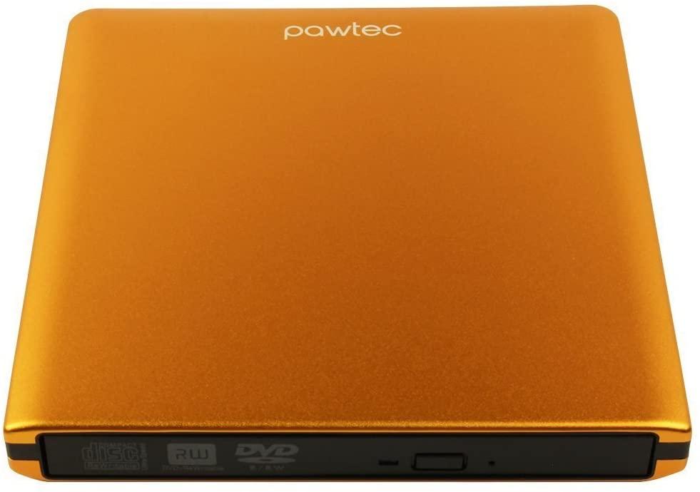Pawtec Signature External USB 3.0 Aluminum 8X DVD-RW Writer Optical Drive for PC Windows & Mac - Orange