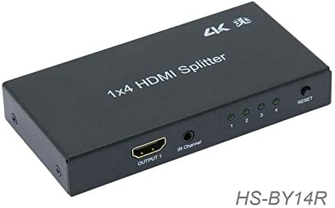 ZCH NIFER Supplies for HDMI 4-Way Video Splitter 3D, 4Kx2K, 1 Image to 4 Monitors/TV's w/IR Extension