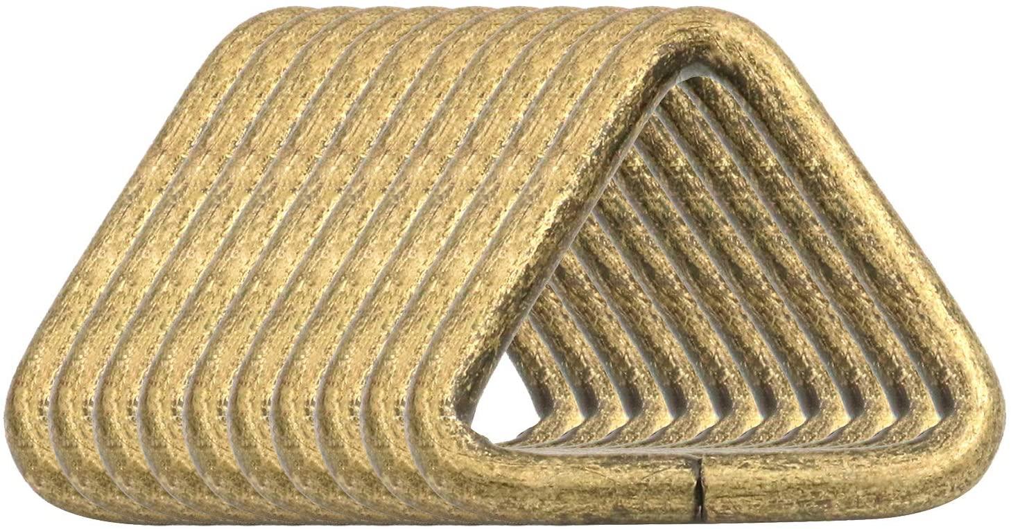 BIKICOCO 1'' Metal Triangle Ring Buckle Connectors Non Welded Round Edge Webbing Bag Clasp Handbag Strap Making Hardware, Bronze - Pack of 10