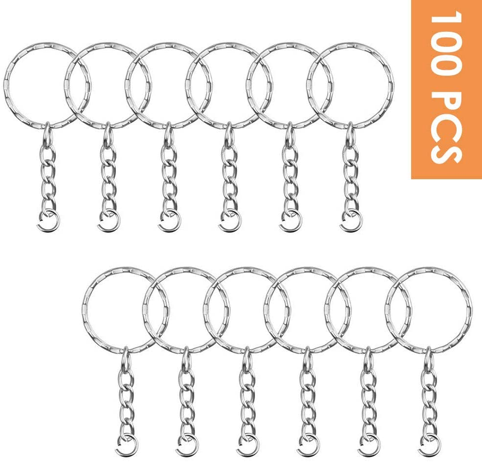 OWIKAR 100 Pieces Keychain Rings with Chain and Open Jump Rings, Silver Color Metal Split Keychain Ring Parts for Crafts Charm Jewelry Making, 1 Inch/25mm