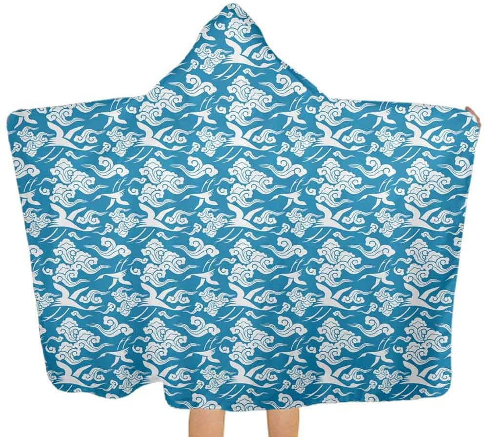 ThinkingPower Hooded Baby Towel Classic Japanese Motifs Premium Absorbent Hooded Towels Ultra Soft, Super Absorbent, Extra Large, 51.5x31.8 Inch