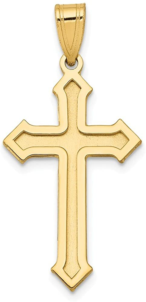 Solid 14k Yellow Gold Passion Cross Pendant Charm - 30mm x 15mm