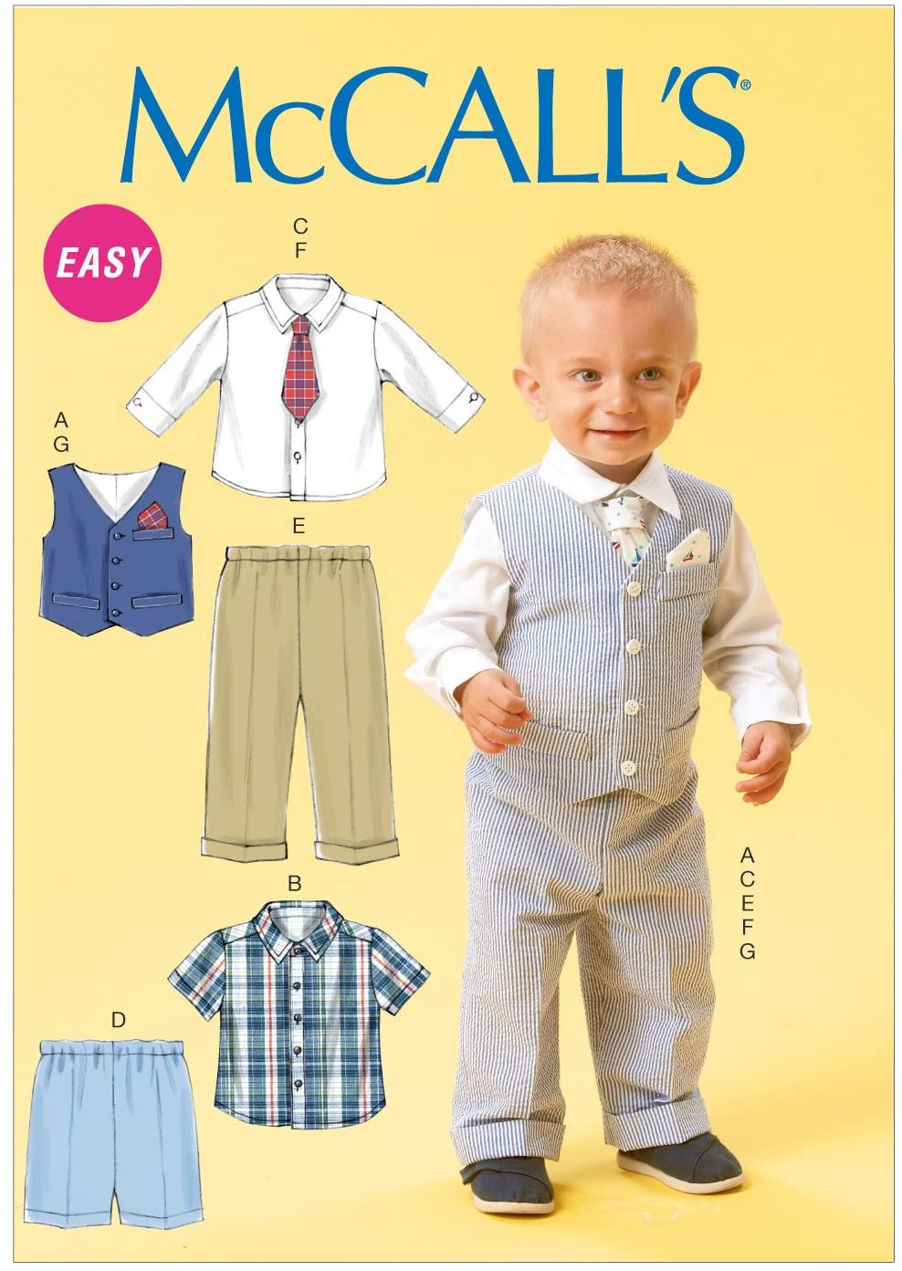 McCall Pattern Company M6873 Infants Vest, Shirt, Shorts, Pants, Tie and Pocket Square Sewing Template, Size YA5