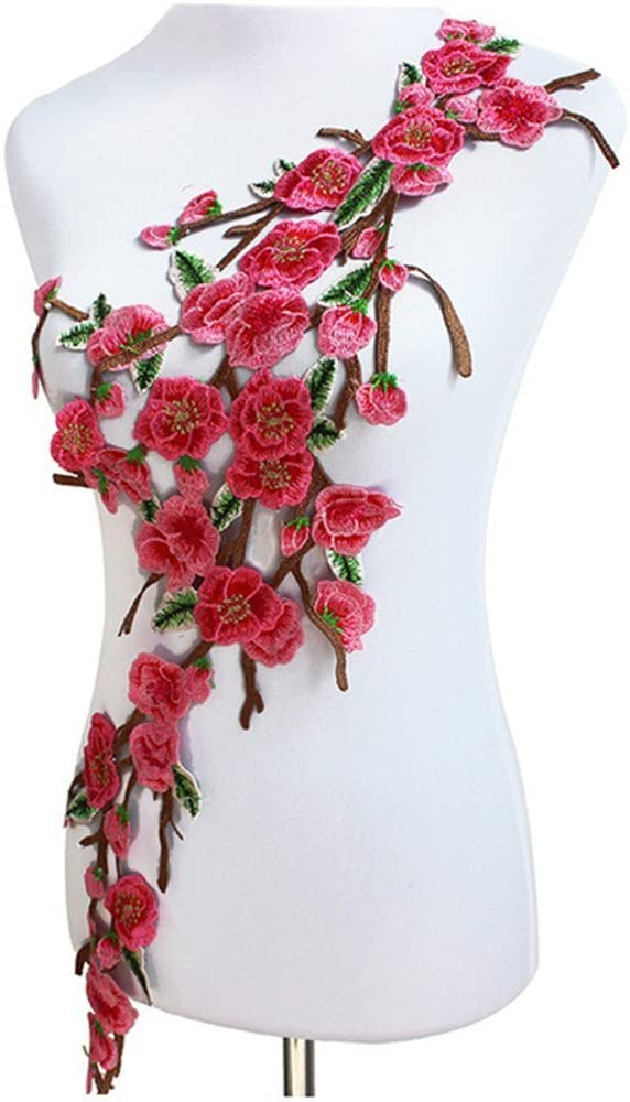 Multicolor Plum Floral Patches Lace Embroidery Patches Motif Cord Bridal Dress Applique Sew On Sticker T1641 (Pink)