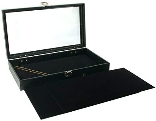 3 Black Jewelry Chain Pads & Glass Lid Display Case