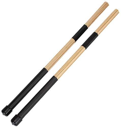 Tzong 2Pcs Black Jazz Drum Rod Brushes Sticks Made of Bamboo for Jazz Folk Music
