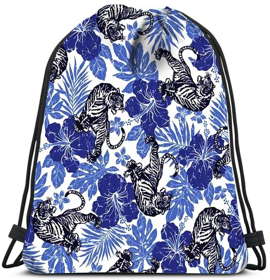 bneegxg Drawstring Backpack Bags Hibiscus Tiger Natural Wild Life Design Sports Gym Bag