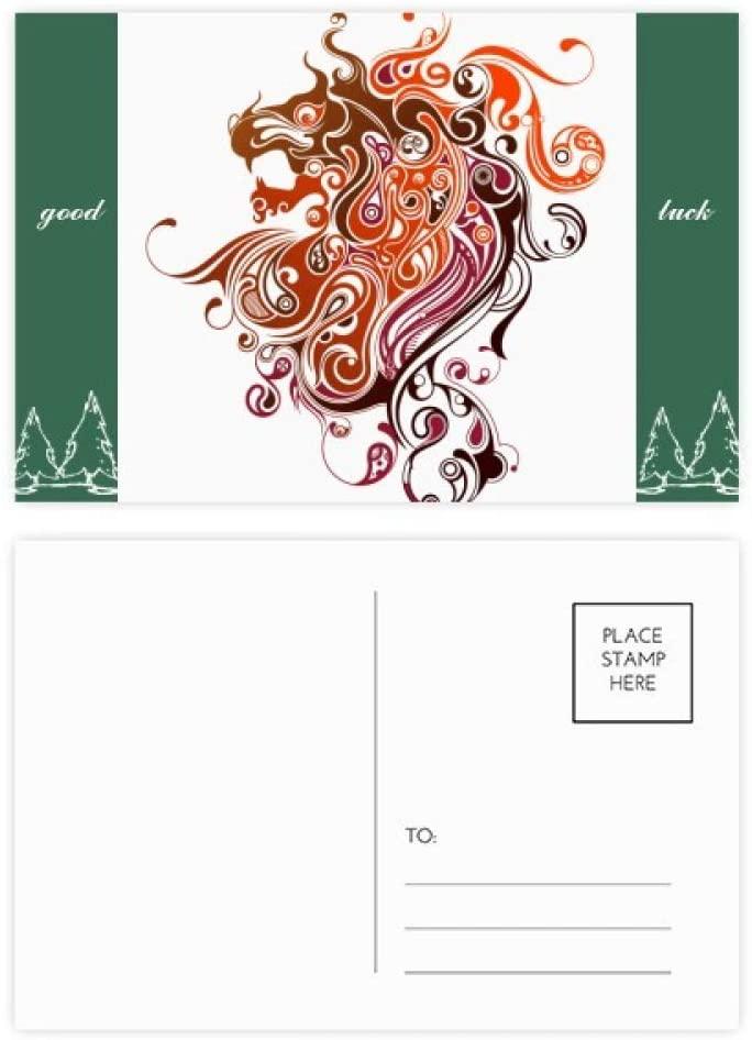 Colorful Dragon Animal Art Silhouette Good Luck Postcard Set Card Mailing Side 20pcs