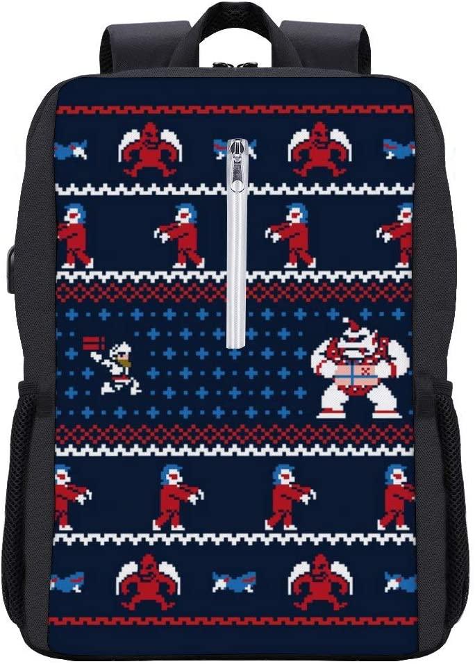 Ghosts N Goblins N Chritmas Presents Knit Pattern Ghouls Backpack Daypack Bookbag Laptop School Bag with USB Charging Port