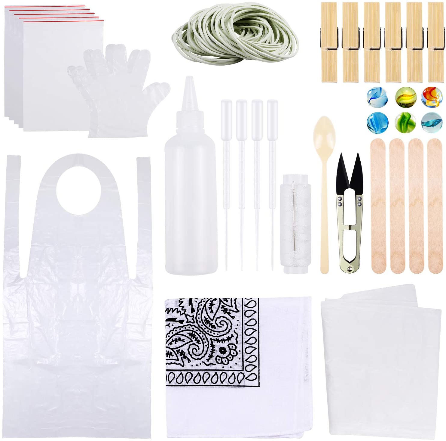 Tie Dye Kit for Kids Adult Party Group, DIY T-Shirt Fabric Tie-Dye Kits, Plastic Gloves, Rubber Bands, Sealed Bags, Aprons, and Tools