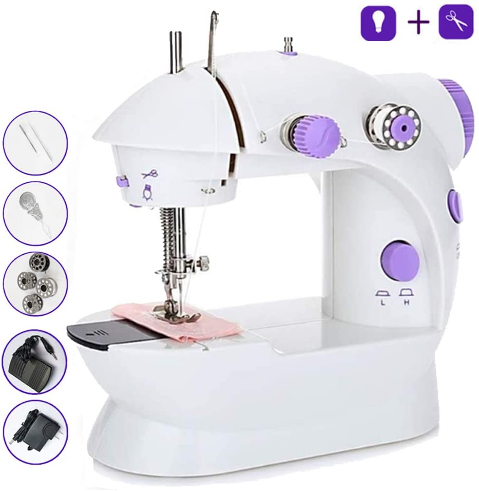 Portable Sewing Machine for Beginner,Table Portable Adjustable 2-Speed Crafting Mending Machine with Light Foot Pedal for Household Kids Beginners Travel Use (Mini, Purple)