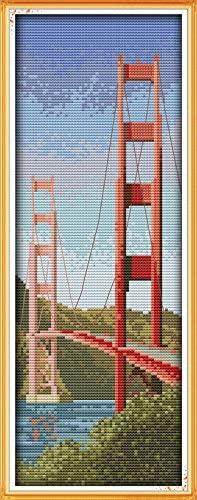 Joy Sunday Cross Stitch Kit 14CT Stamped Embroidery Kits Precise Printed Needlework - American Golden Gate Bridge 16×38CM