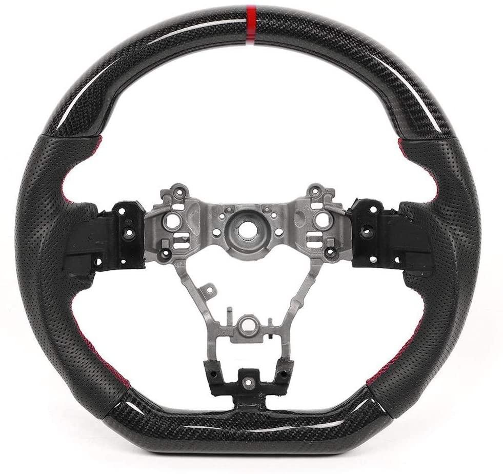 Steering Wheel for Subaru WRX/STI 2015-2020, Carbon Fiber Steering Wheel Nappa Preforated Leather W/Red Stitching