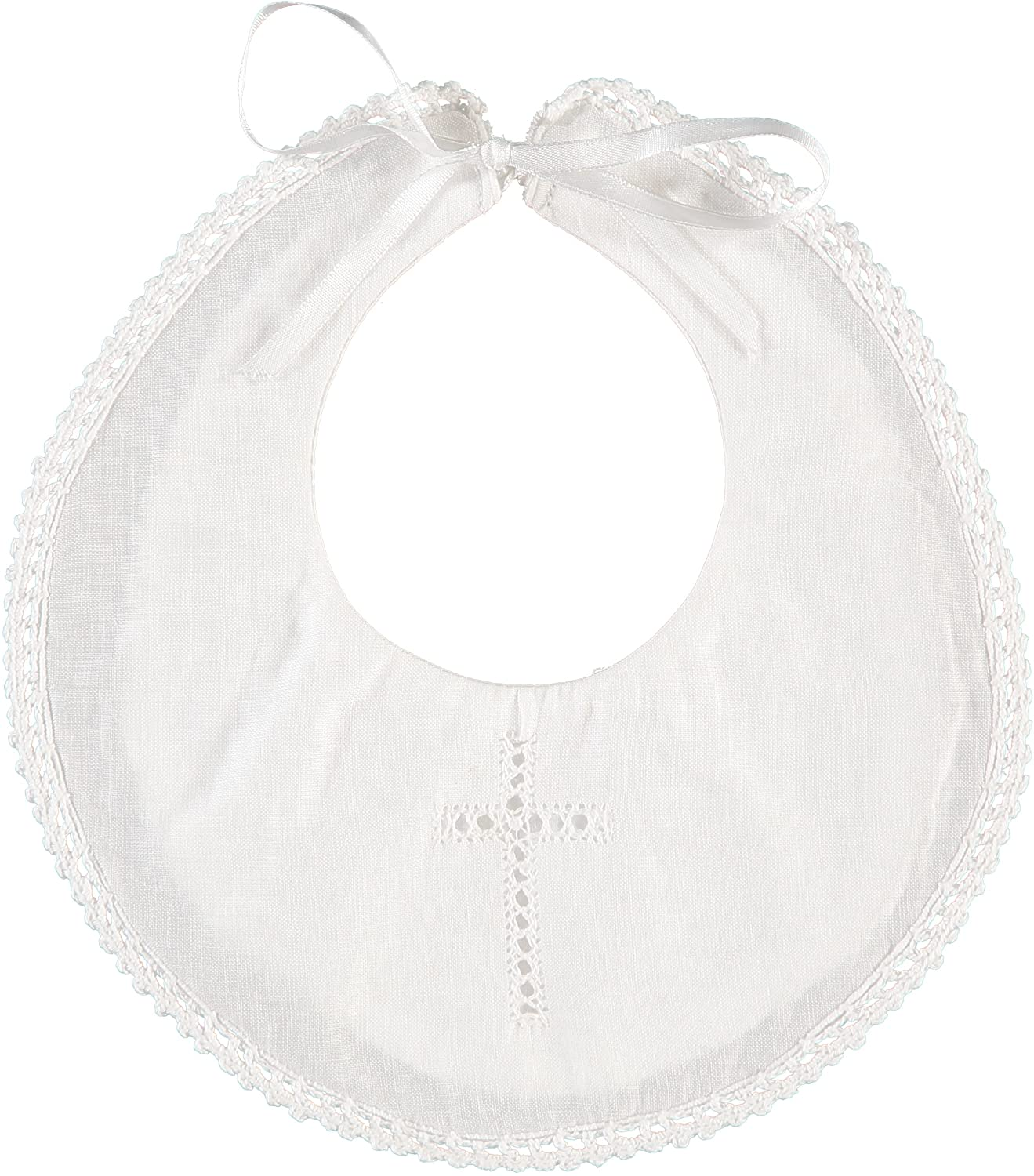Baby Christening/Baptism Bib with Cross and Satin Ribbon